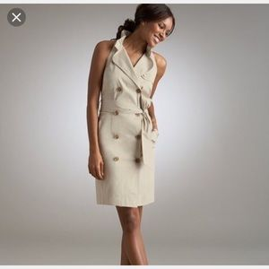 Ann Taylor sleeveless belted trench dress. Beige